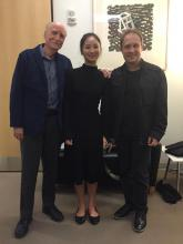 Composer Frank Proto, bassist Mikyung Sung, and conductor Ludovic Morlot