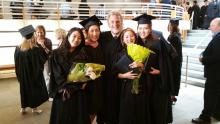 Mikyung Sung with fellow Colburn graduates and Peter Lloyd, 2017