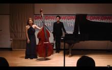 Mikyung Sung and Jaemin Shin taking bows at the 648th House Concert