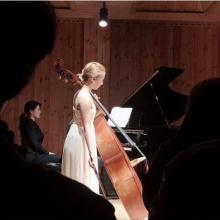 Mikyung Sung performing at the 681st House Concert in 2019