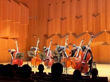 Mikyung Sung with 6Bass taking bows after recital encore